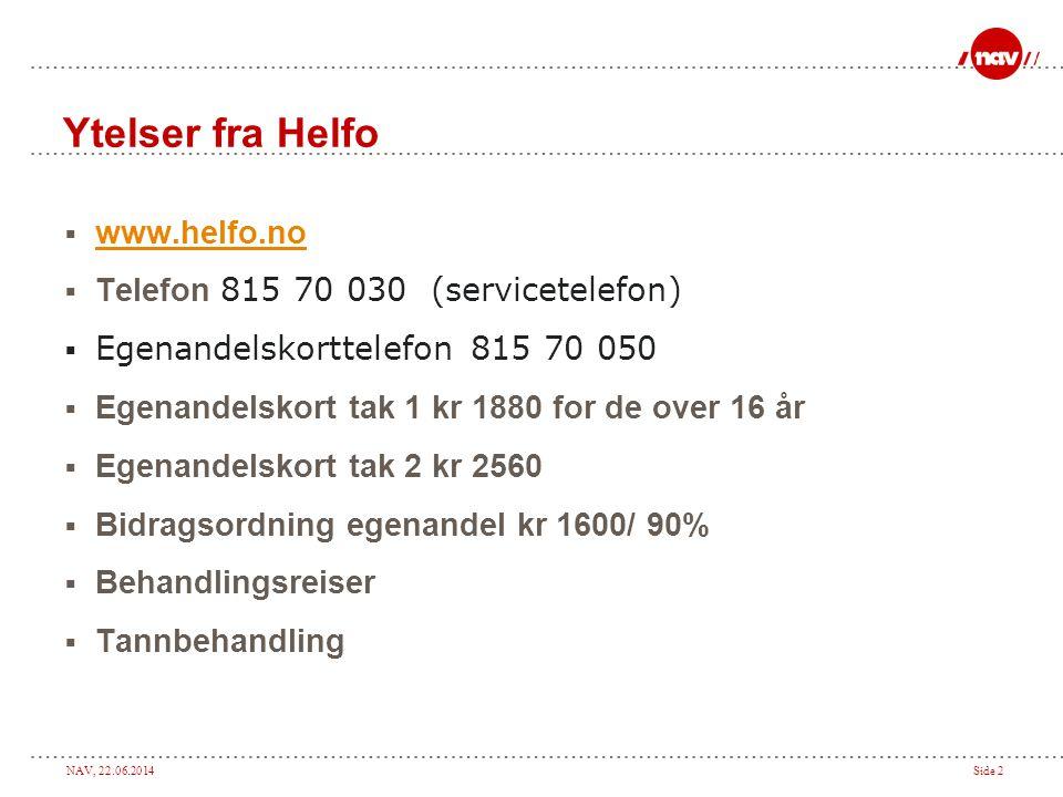 Ytelser fra Helfo www.helfo.no Telefon 815 70 030 (servicetelefon)