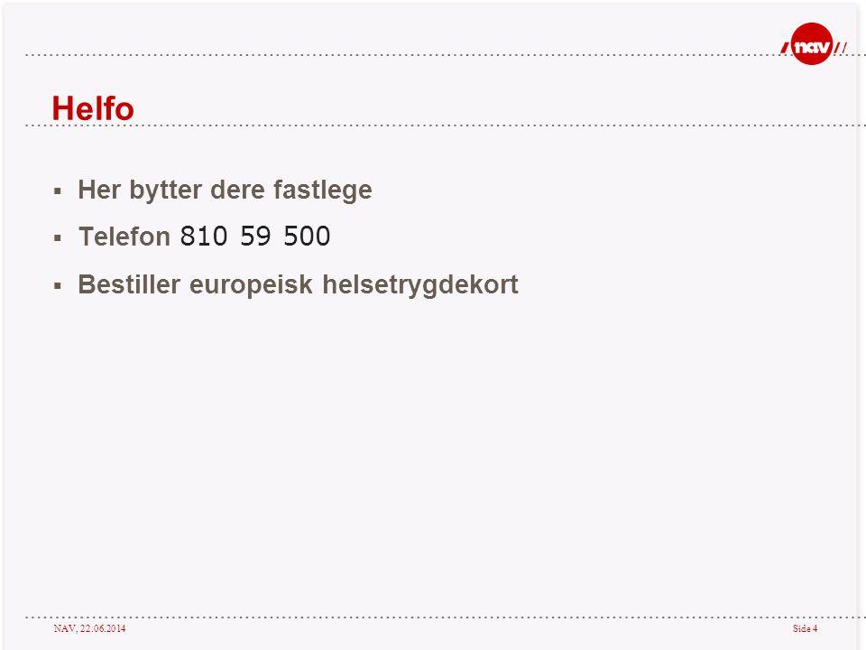 Helfo Her bytter dere fastlege Telefon 810 59 500