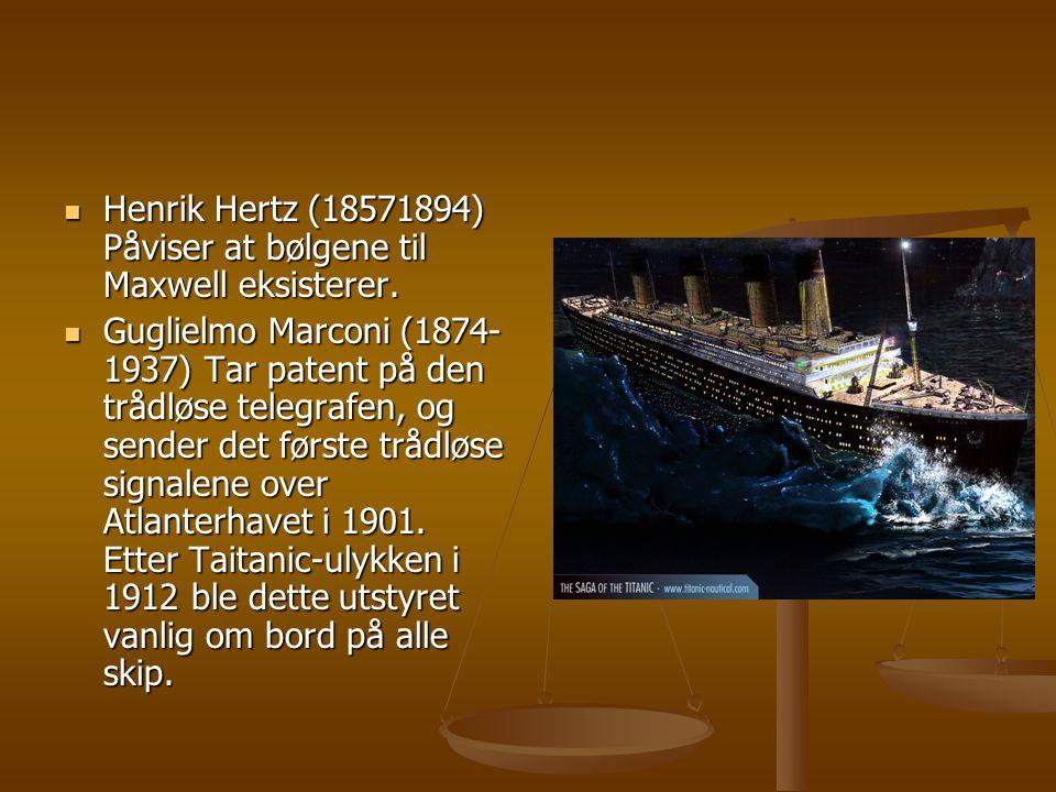 Henrik Hertz (18571894) Påviser at bølgene til Maxwell eksisterer.