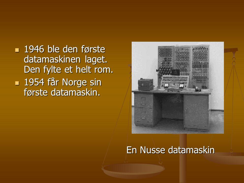 1946 ble den første datamaskinen laget. Den fylte et helt rom.