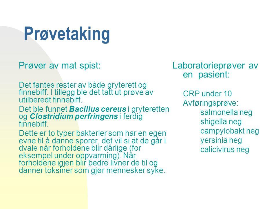 Prøvetaking Laboratorieprøver av en pasient: Prøver av mat spist: