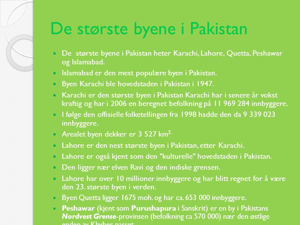 De største byene i Pakistan