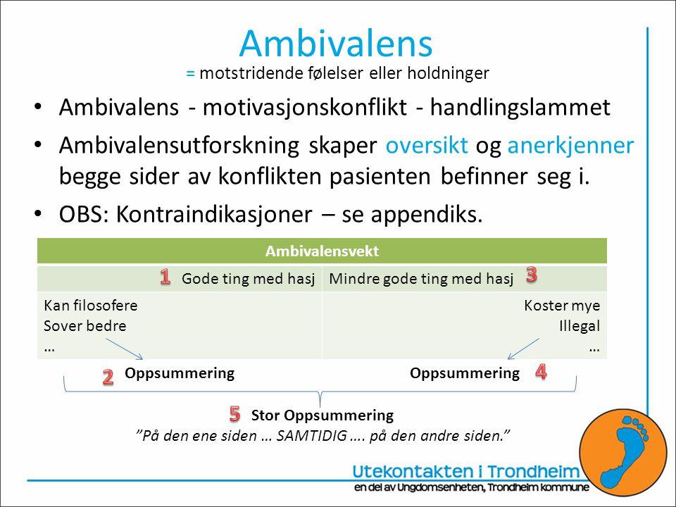Ambivalens Ambivalens - motivasjonskonflikt - handlingslammet