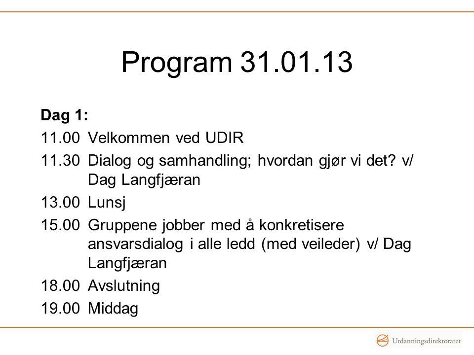 Program 31.01.13 Dag 1: 11.00 Velkommen ved UDIR