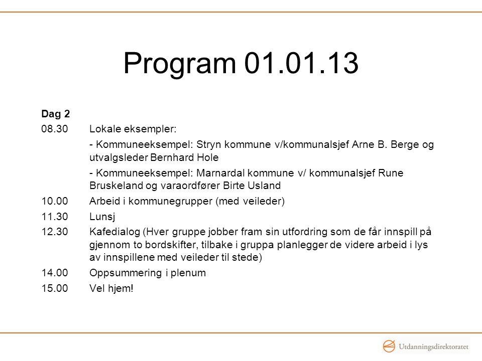 Program 01.01.13 Dag 2 08.30 Lokale eksempler: