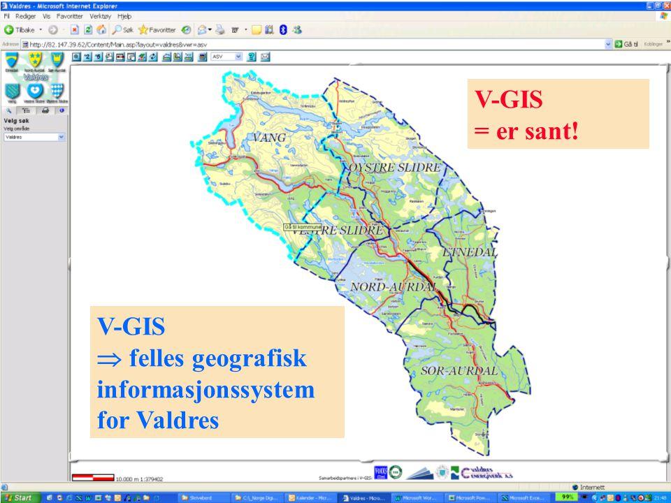 V-GIS = er sant! V-GIS  felles geografisk informasjonssystem for Valdres