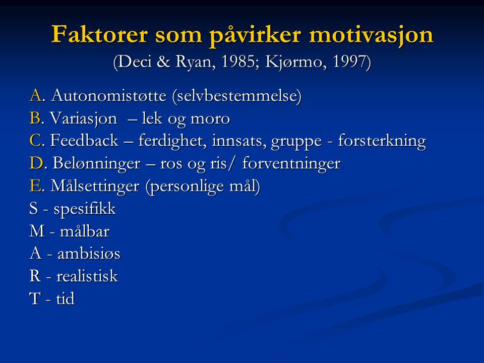 Faktorer som påvirker motivasjon (Deci & Ryan, 1985; Kjørmo, 1997)