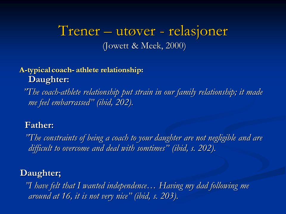 Trener – utøver - relasjoner (Jowett & Meek, 2000)