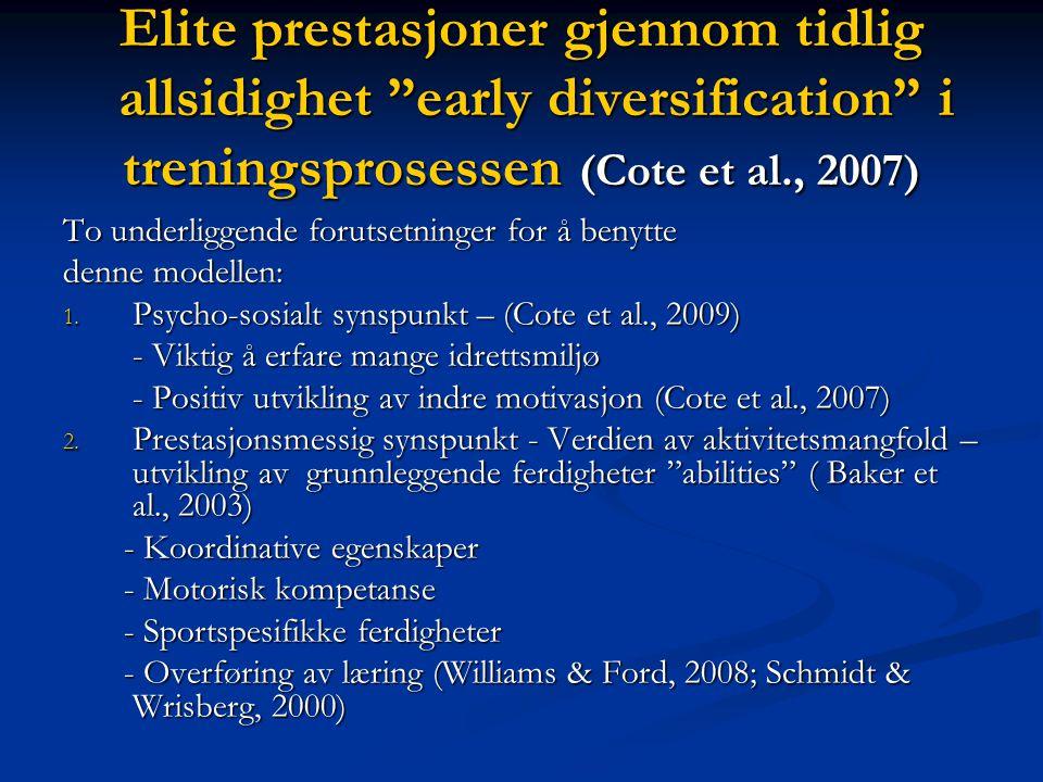Elite prestasjoner gjennom tidlig allsidighet early diversification i treningsprosessen (Cote et al., 2007)