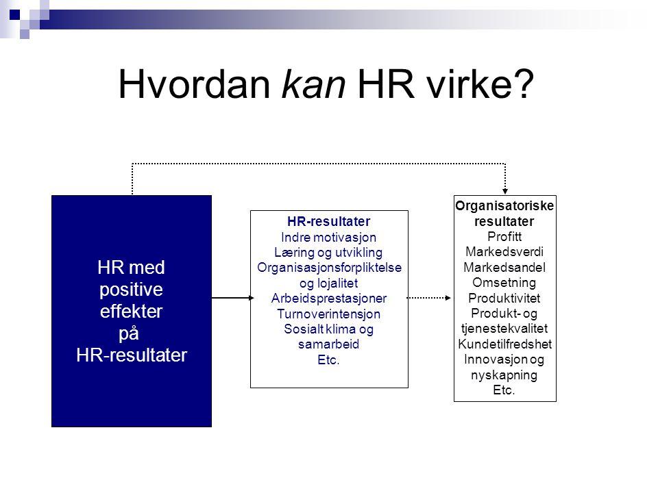 Hvordan kan HR virke HR med positive effekter på HR-resultater HR