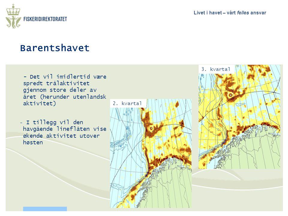 Barentshavet 3. kvartal. - Det vil imidlertid være spredt trålaktivitet gjennom store deler av året (herunder utenlandsk aktivitet)