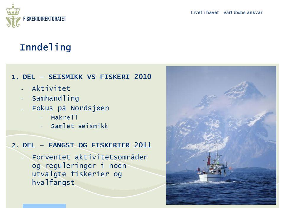 Inndeling DEL – SEISMIKK VS FISKERI 2010 Aktivitet Samhandling