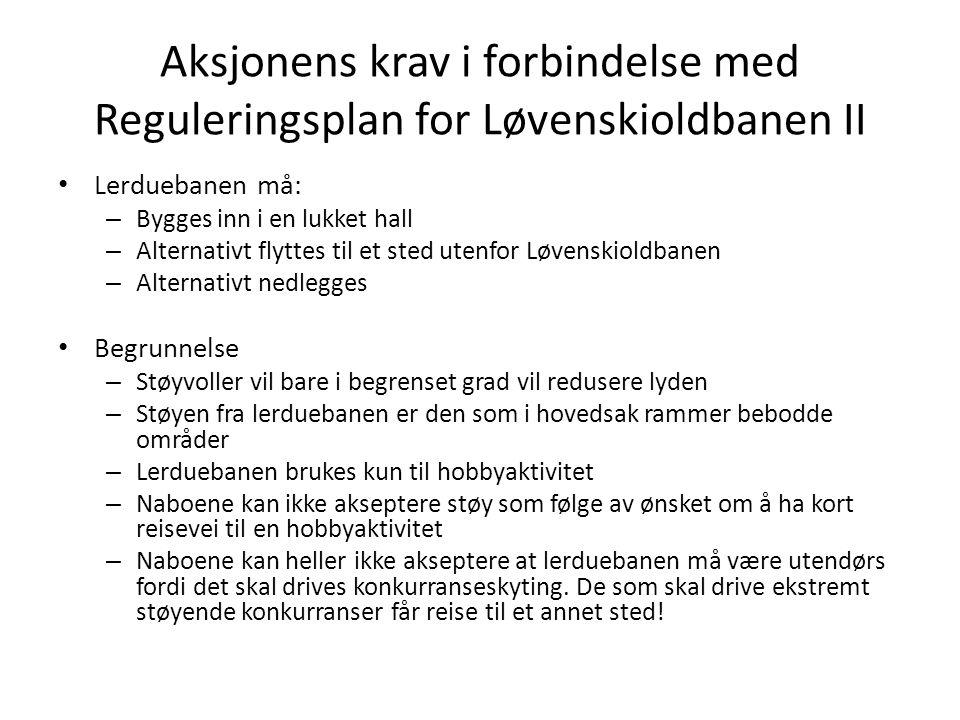 Aksjonens krav i forbindelse med Reguleringsplan for Løvenskioldbanen II