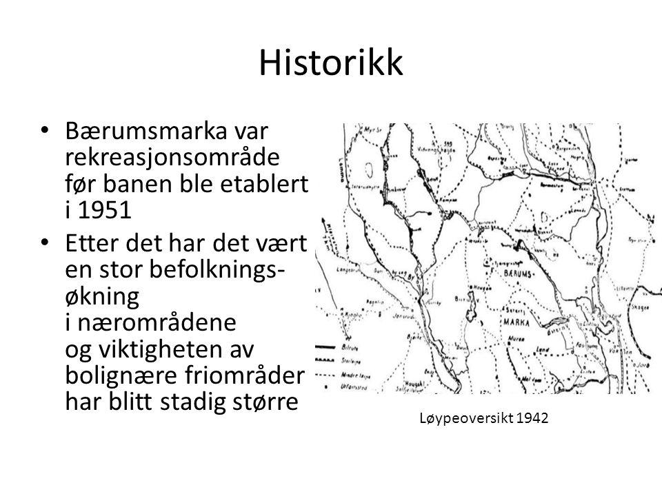Historikk Bærumsmarka var rekreasjonsområde før banen ble etablert i 1951.