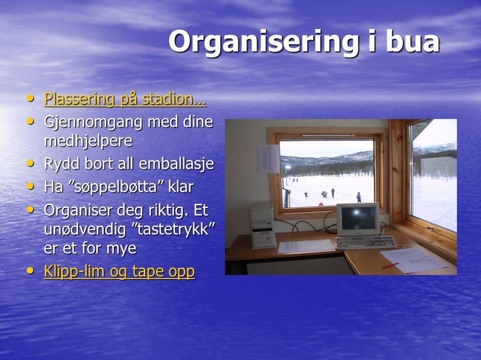 Organisering i bua Plassering på stadion…