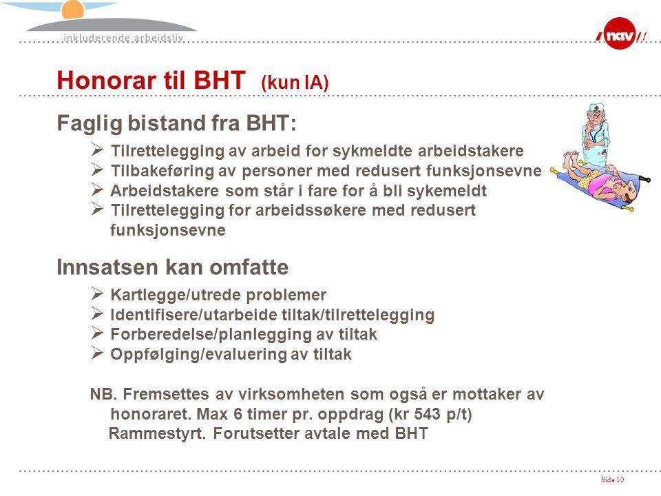 Honorar til BHT (kun IA)
