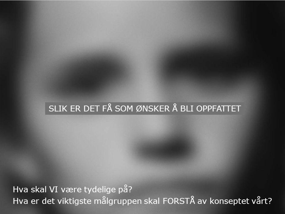 SLIK ER DET FÅ SOM ØNSKER Å BLI OPPFATTET