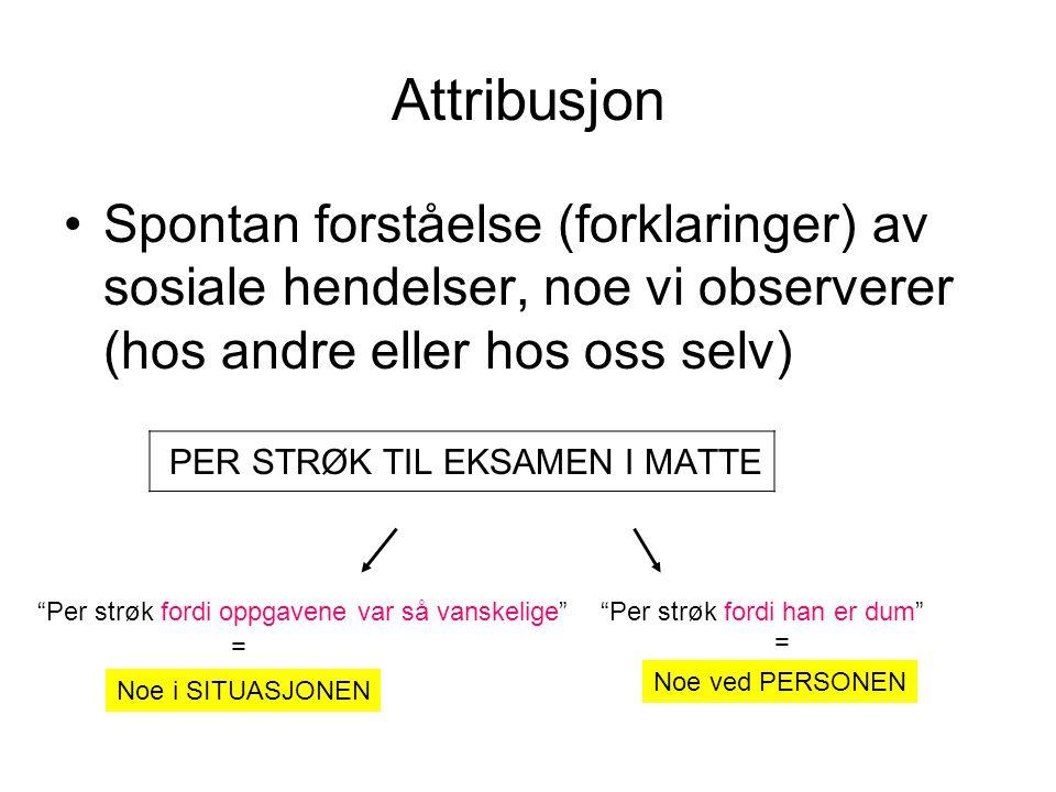Attribusjon Spontan forståelse (forklaringer) av sosiale hendelser, noe vi observerer (hos andre eller hos oss selv)