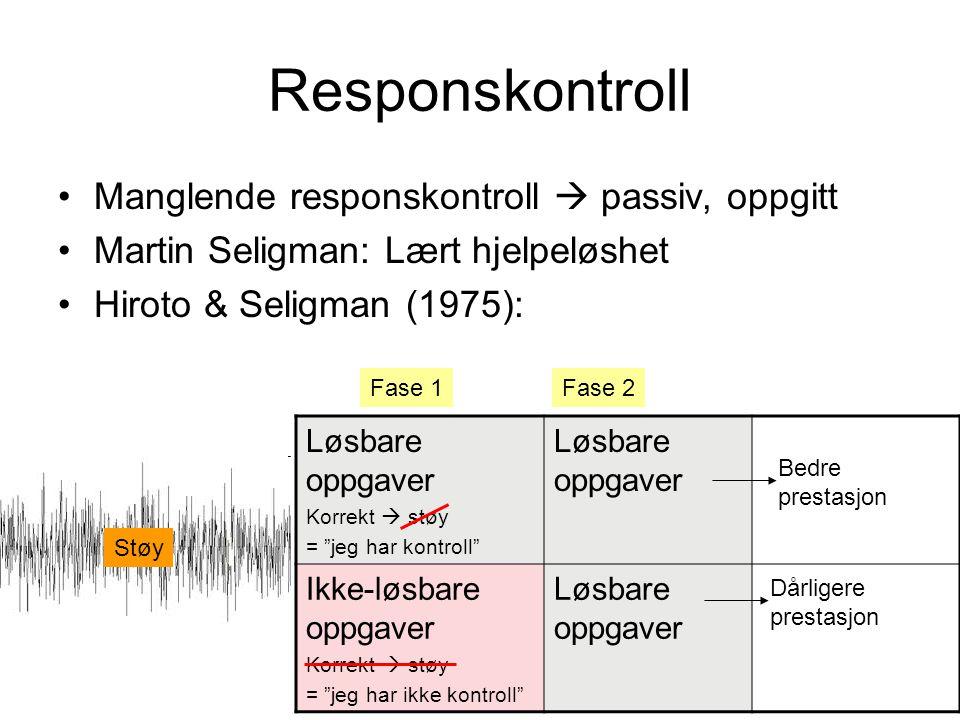 Responskontroll Manglende responskontroll  passiv, oppgitt