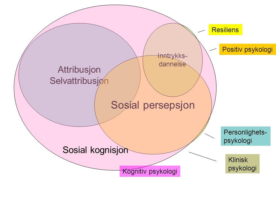 Sosial persepsjon Attribusjon Selvattribusjon Sosial kognisjon