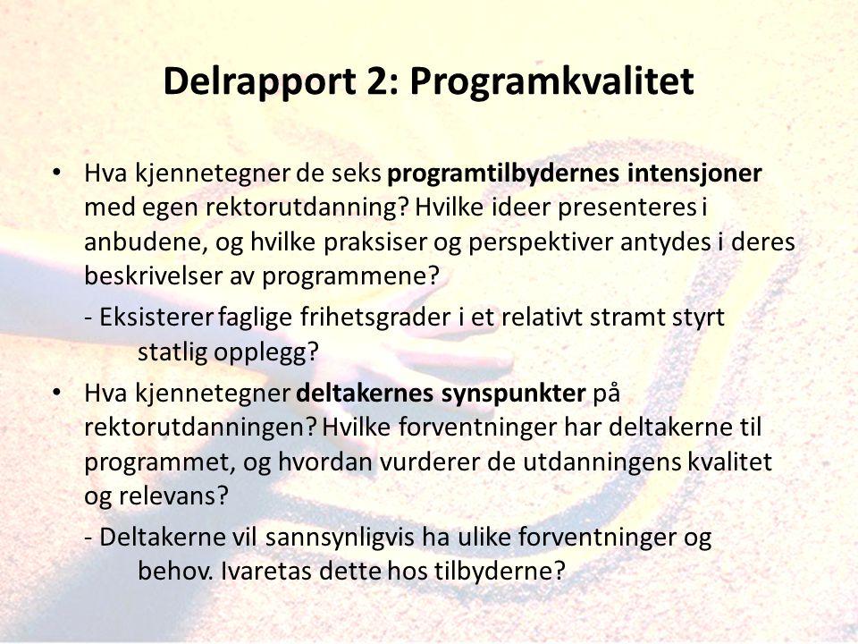 Delrapport 2: Programkvalitet