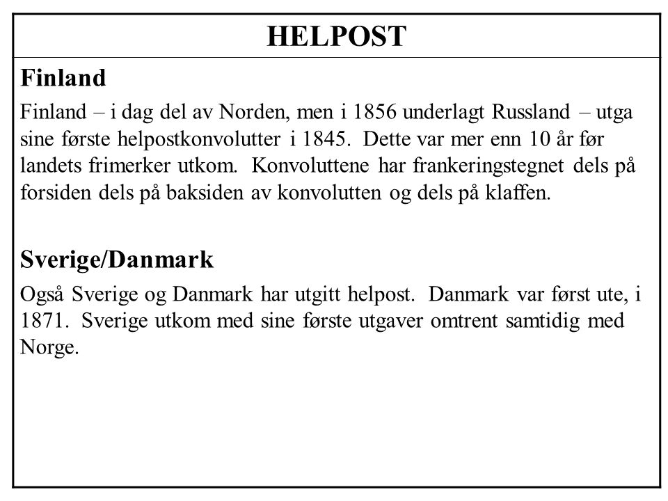 HELPOST Finland Sverige/Danmark