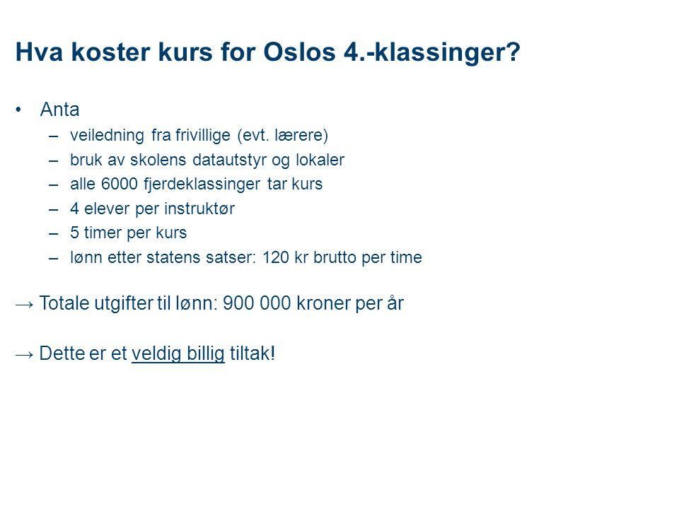 Hva koster kurs for Oslos 4.-klassinger