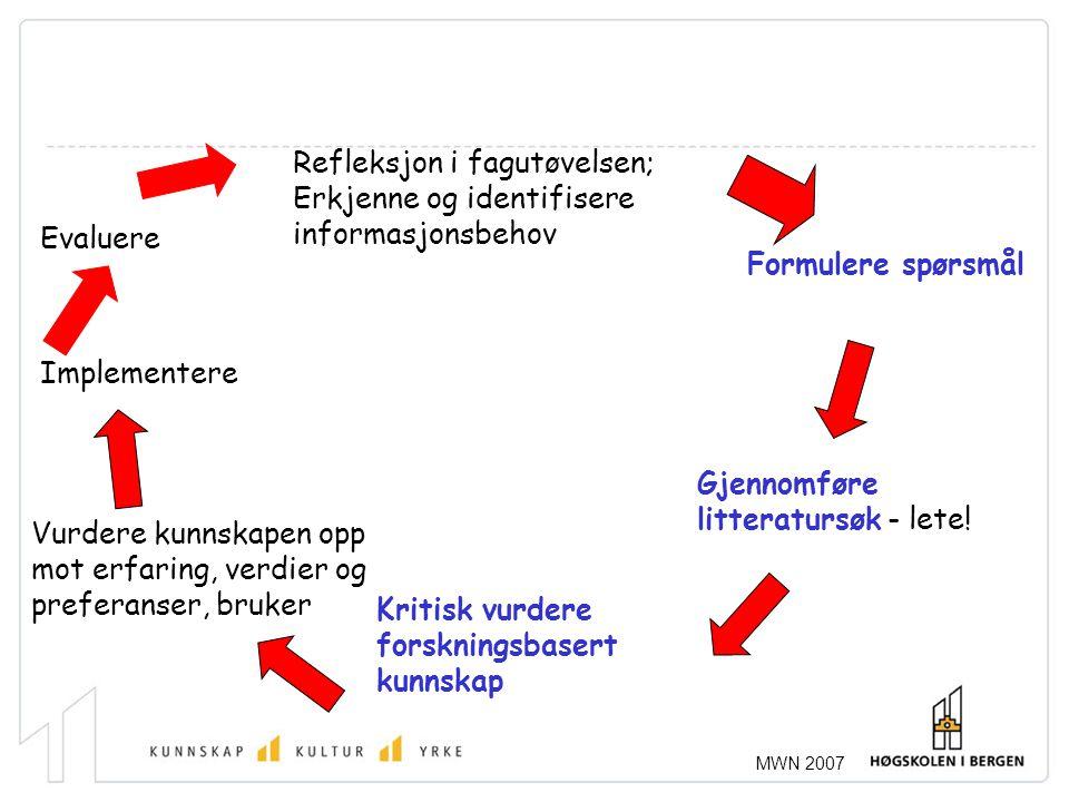 Refleksjon i fagutøvelsen; Erkjenne og identifisere informasjonsbehov