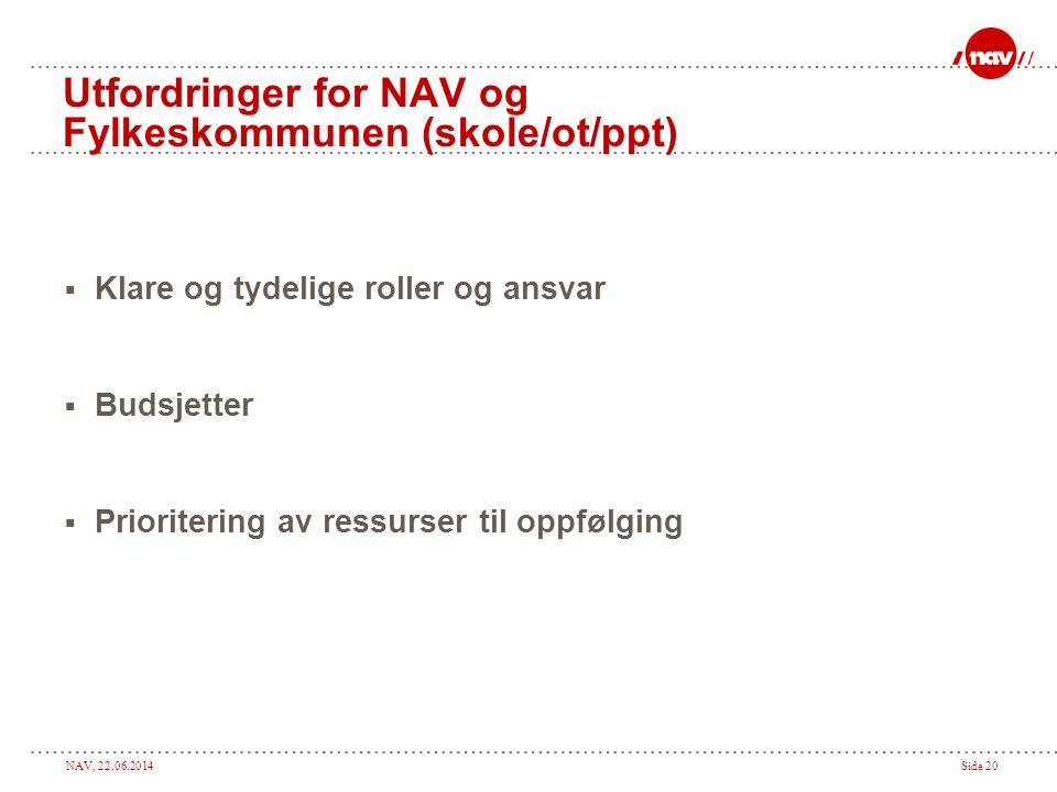 Utfordringer for NAV og Fylkeskommunen (skole/ot/ppt)