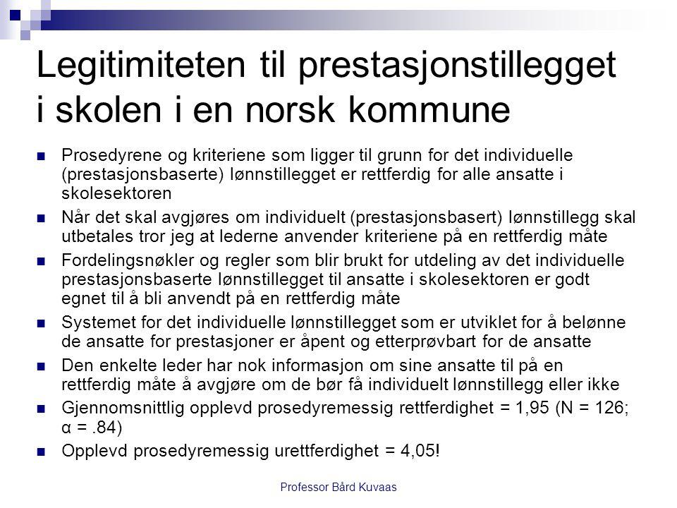 Legitimiteten til prestasjonstillegget i skolen i en norsk kommune