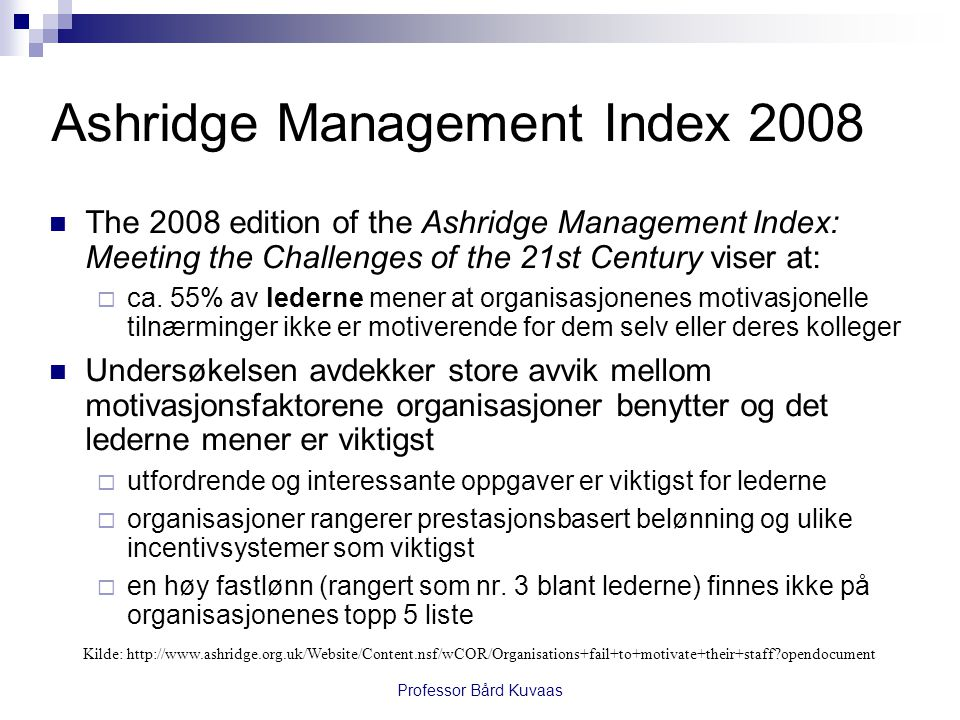 Ashridge Management Index 2008