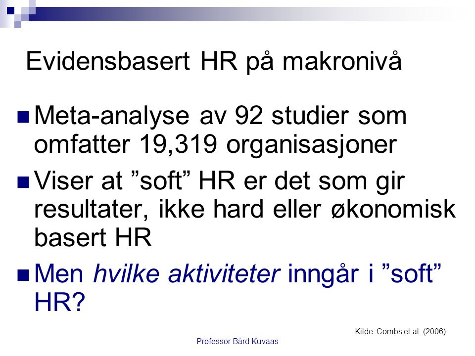 Evidensbasert HR på makronivå