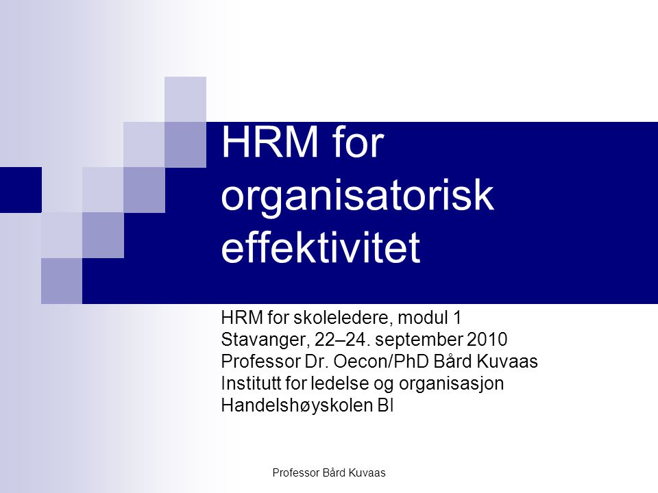 HRM for organisatorisk effektivitet