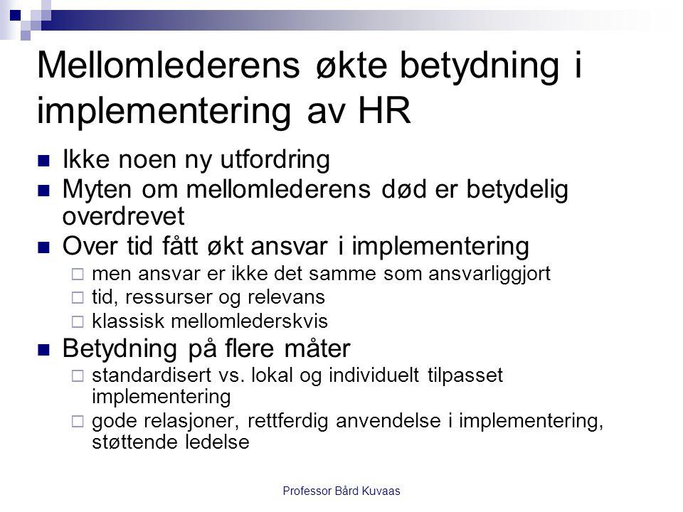 Mellomlederens økte betydning i implementering av HR