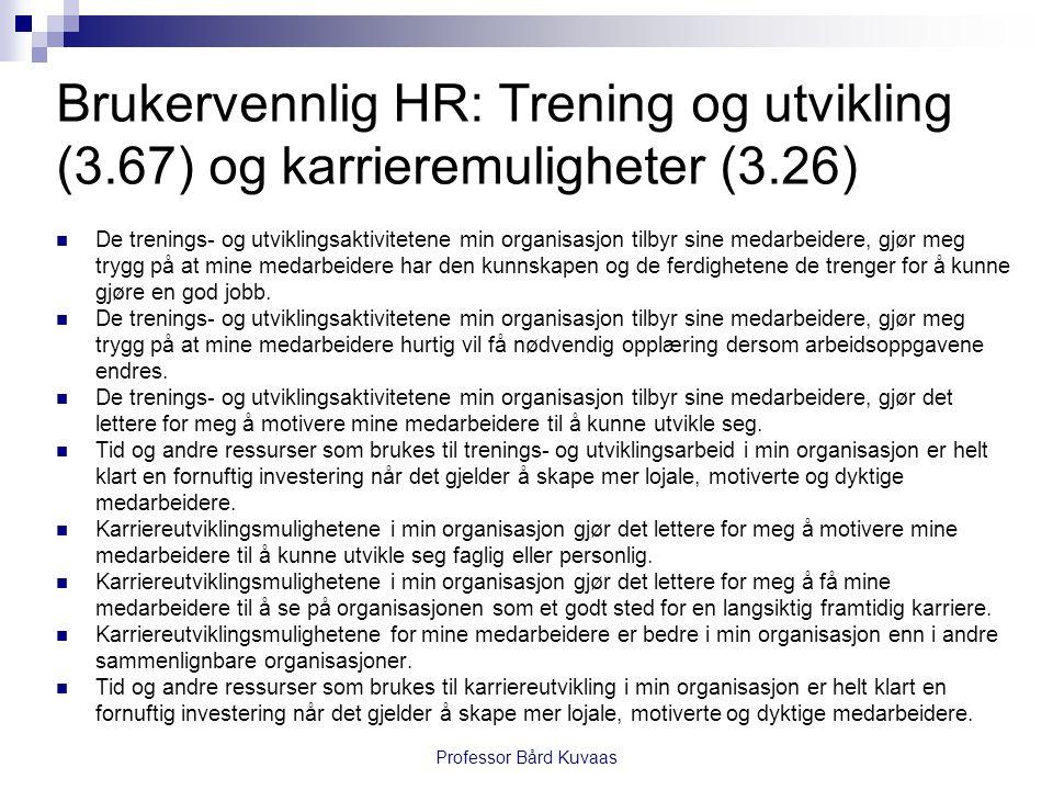 Brukervennlig HR: Trening og utvikling (3.67) og karrieremuligheter (3.26)