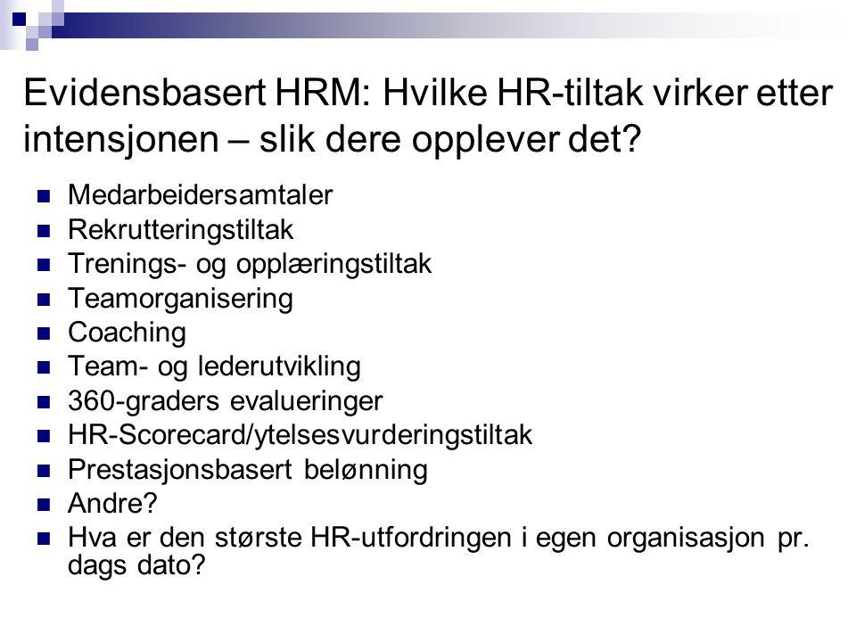Evidensbasert HRM: Hvilke HR-tiltak virker etter intensjonen – slik dere opplever det