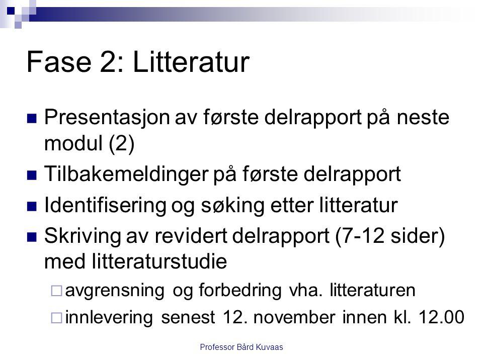 Fase 2: Litteratur Presentasjon av første delrapport på neste modul (2) Tilbakemeldinger på første delrapport.