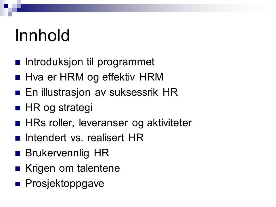 Innhold Introduksjon til programmet Hva er HRM og effektiv HRM