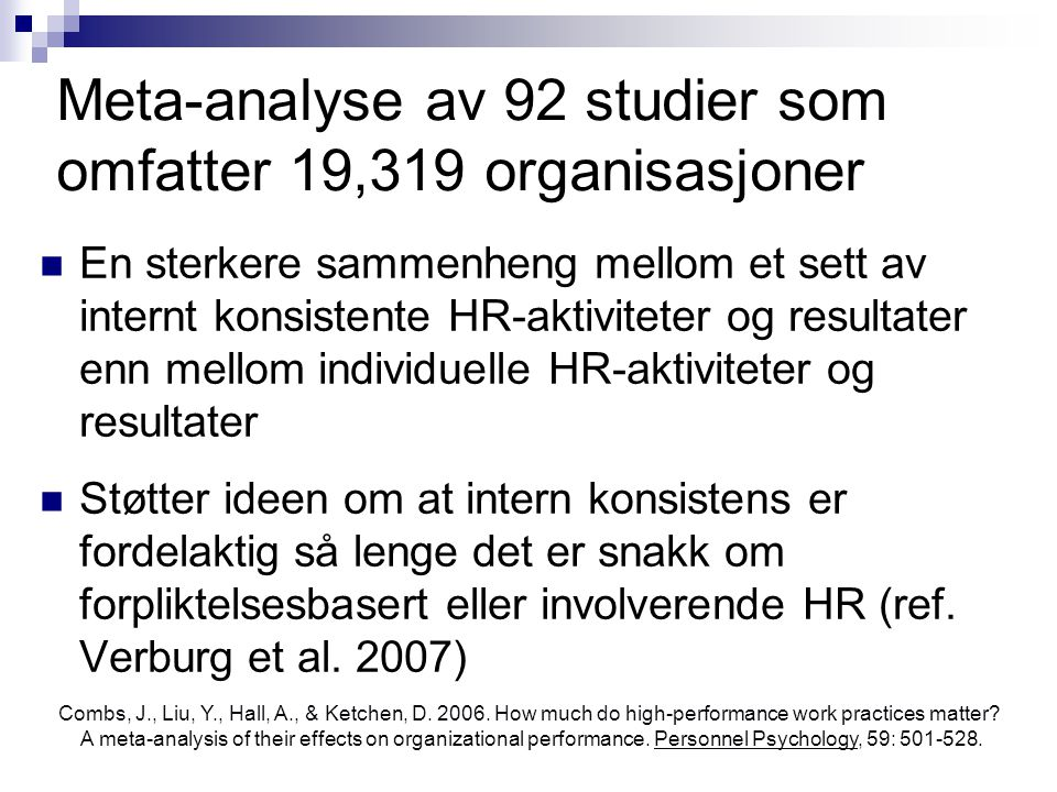 Meta-analyse av 92 studier som omfatter 19,319 organisasjoner