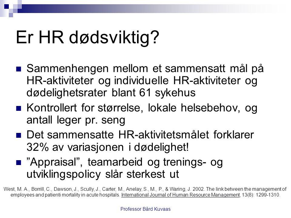 Er HR dødsviktig Sammenhengen mellom et sammensatt mål på HR-aktiviteter og individuelle HR-aktiviteter og dødelighetsrater blant 61 sykehus.
