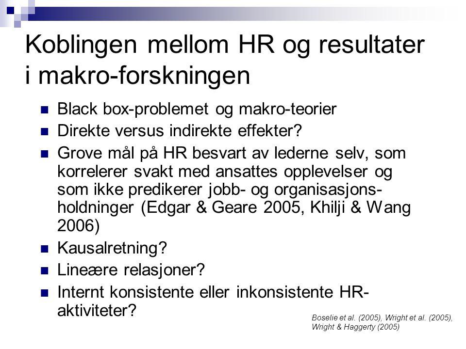 Koblingen mellom HR og resultater i makro-forskningen