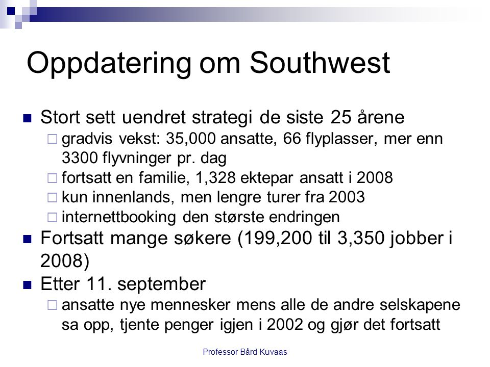 Oppdatering om Southwest