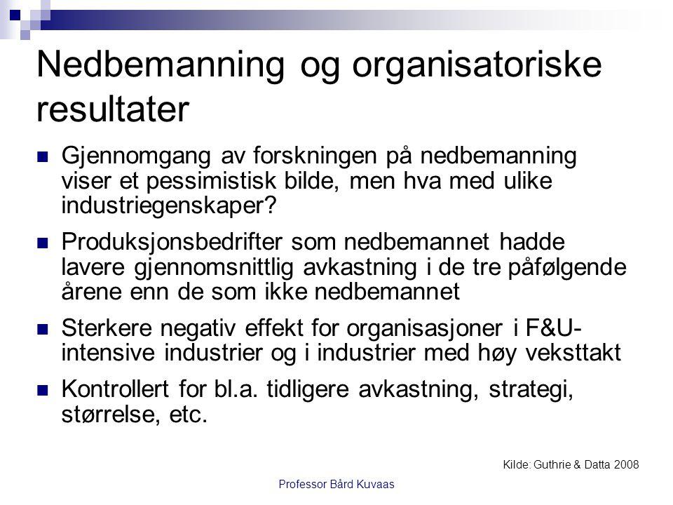 Nedbemanning og organisatoriske resultater