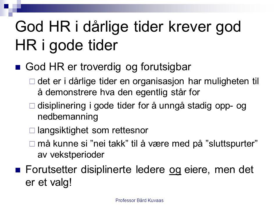 God HR i dårlige tider krever god HR i gode tider