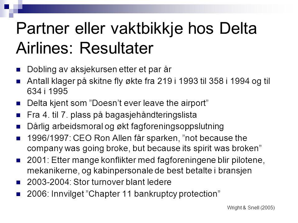 Partner eller vaktbikkje hos Delta Airlines: Resultater