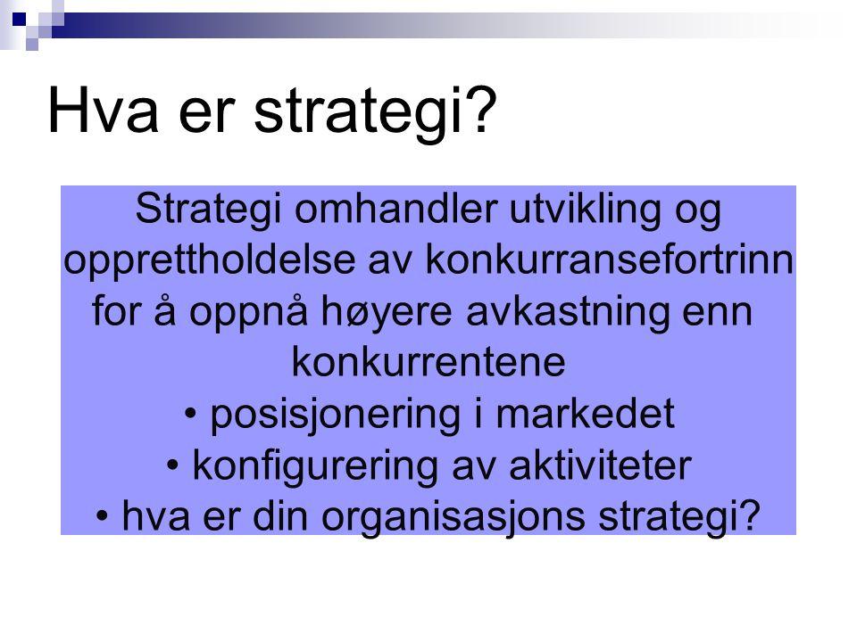 Hva er strategi Strategi omhandler utvikling og