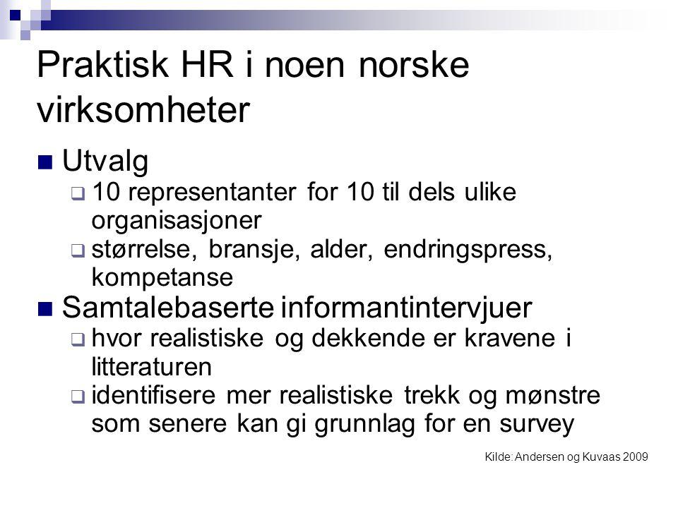 Praktisk HR i noen norske virksomheter