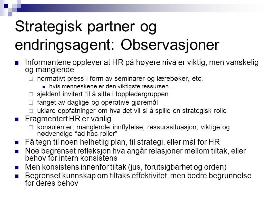 Strategisk partner og endringsagent: Observasjoner