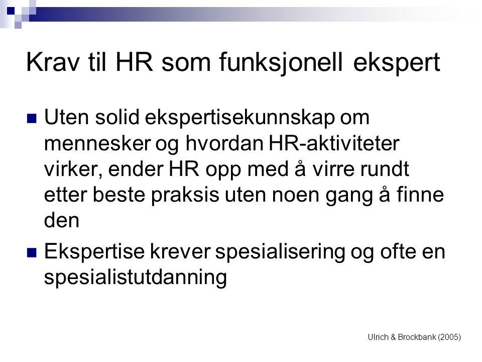Krav til HR som funksjonell ekspert