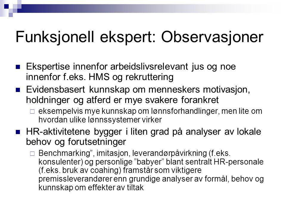 Funksjonell ekspert: Observasjoner